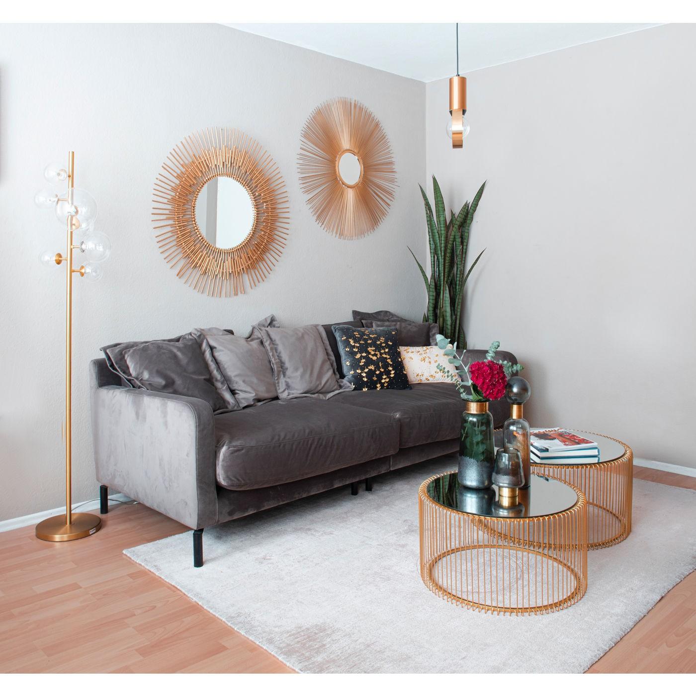 Coussin gris feuilles de ginkgo dorées Kare Design