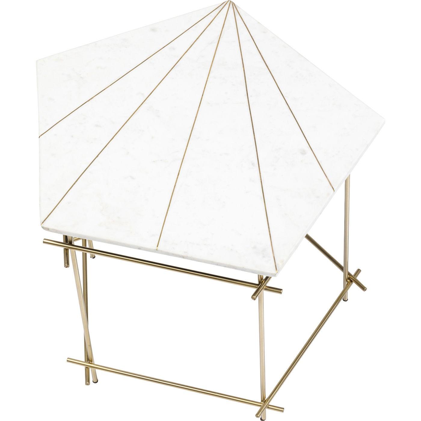 Table d'appoint Mystic Pentagon blanche 52cm Kare Design