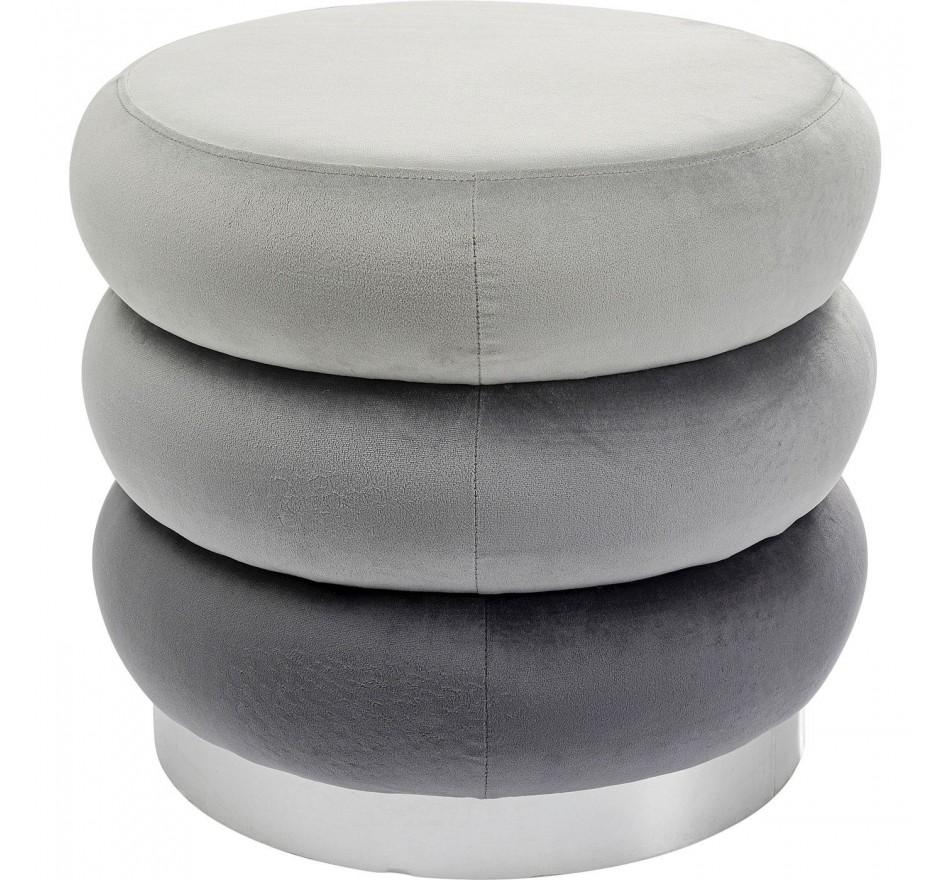 Tabouret Sandwich velours gris Kare Design