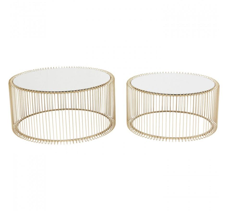 Table Basse Ronde En Laiton Avec Miroir Lot De 2 Tables Modernes