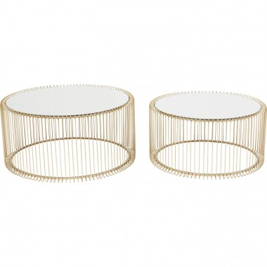 Tables basses rondes Wire laiton set de 2 Kare Design