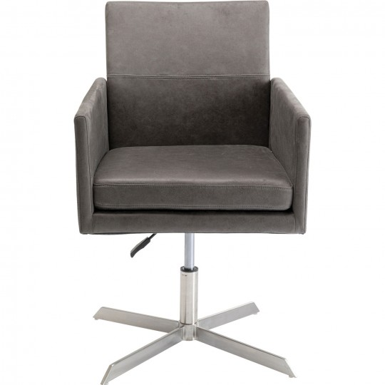 Fauteuil pivotant New York velours gris Kare Design