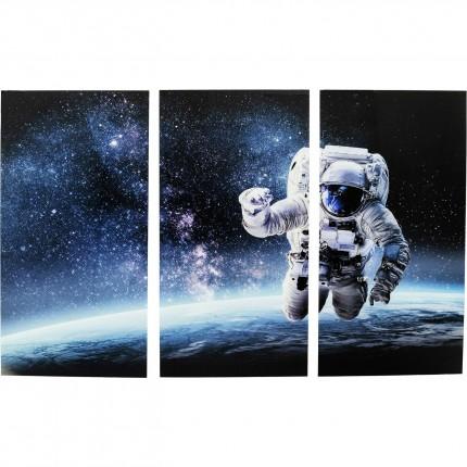 Tableau en verre Triptychon astronaute espace 240x160cm Kare Design