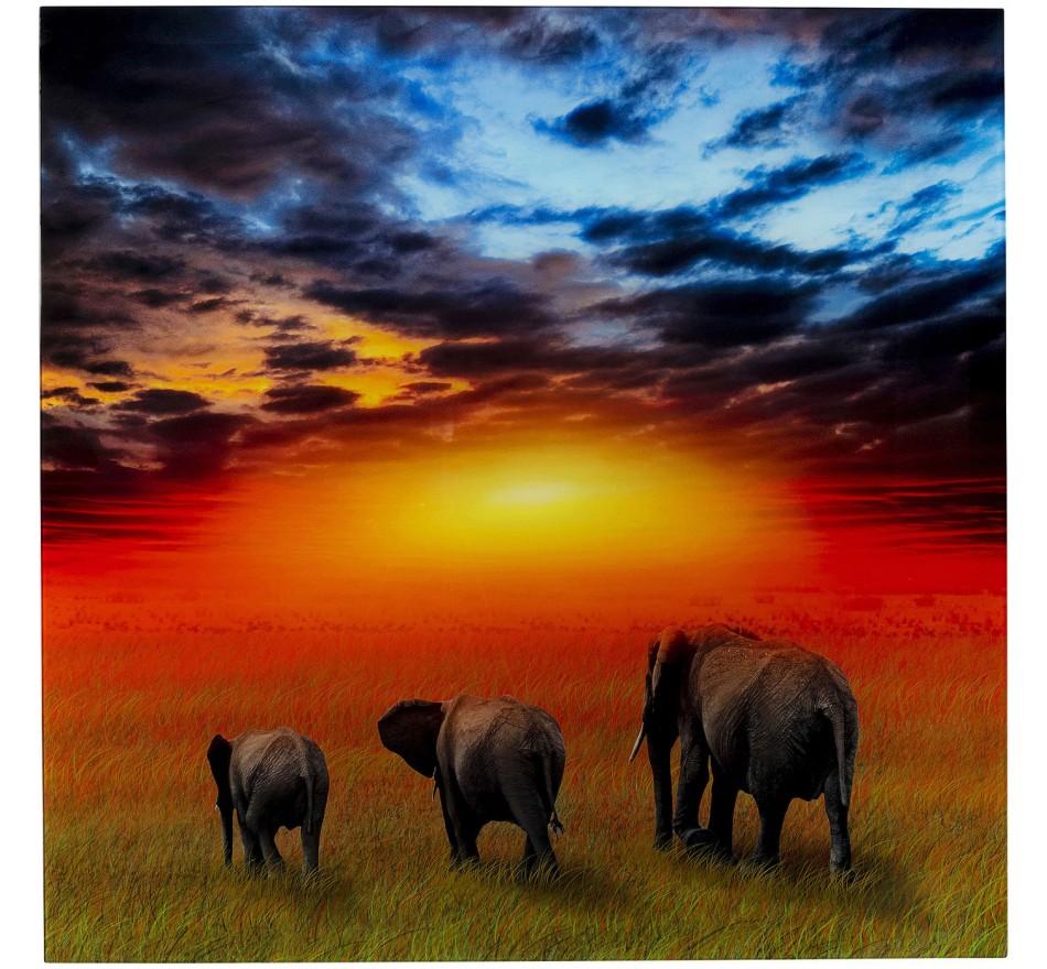 Tableau en verre Savane Éléphants 100x100cm Kare Design