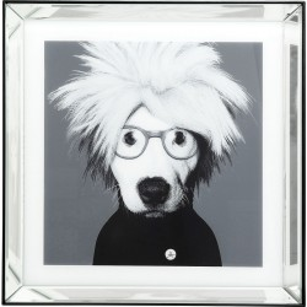 Tableau Frame miroir chien artiste 60x60cm Kare Design