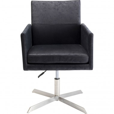 Fauteuil pivotant New York velours noir Kare Design