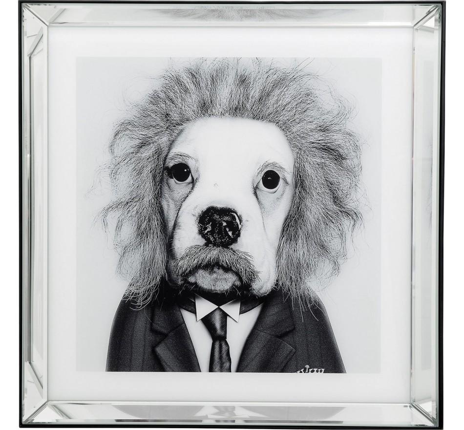 Tableau Frame miroir chien physicien 60x60cm Kare Design