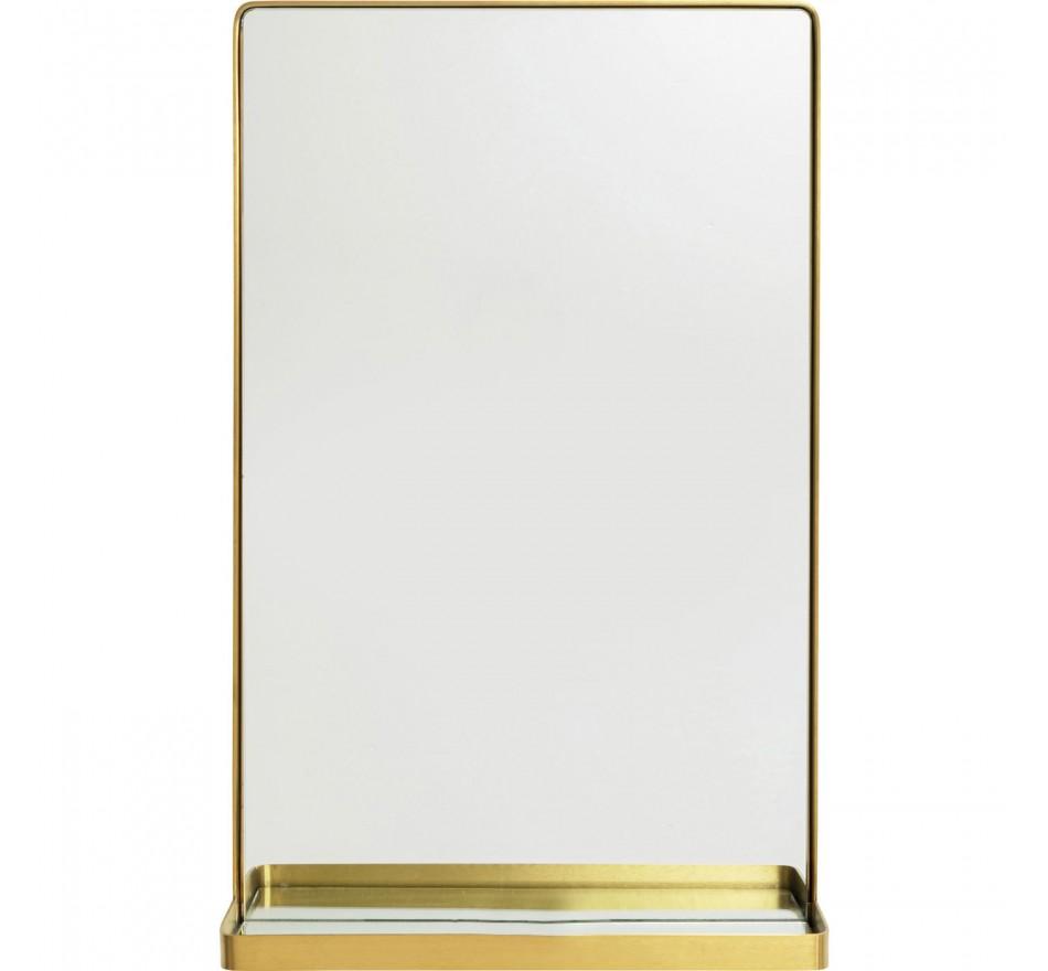Miroir avec tablette Curve laiton 80x50cm Kare Design