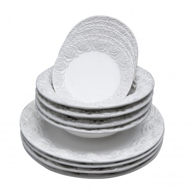 Set de 12 assiettes Roses blanches Kare Design