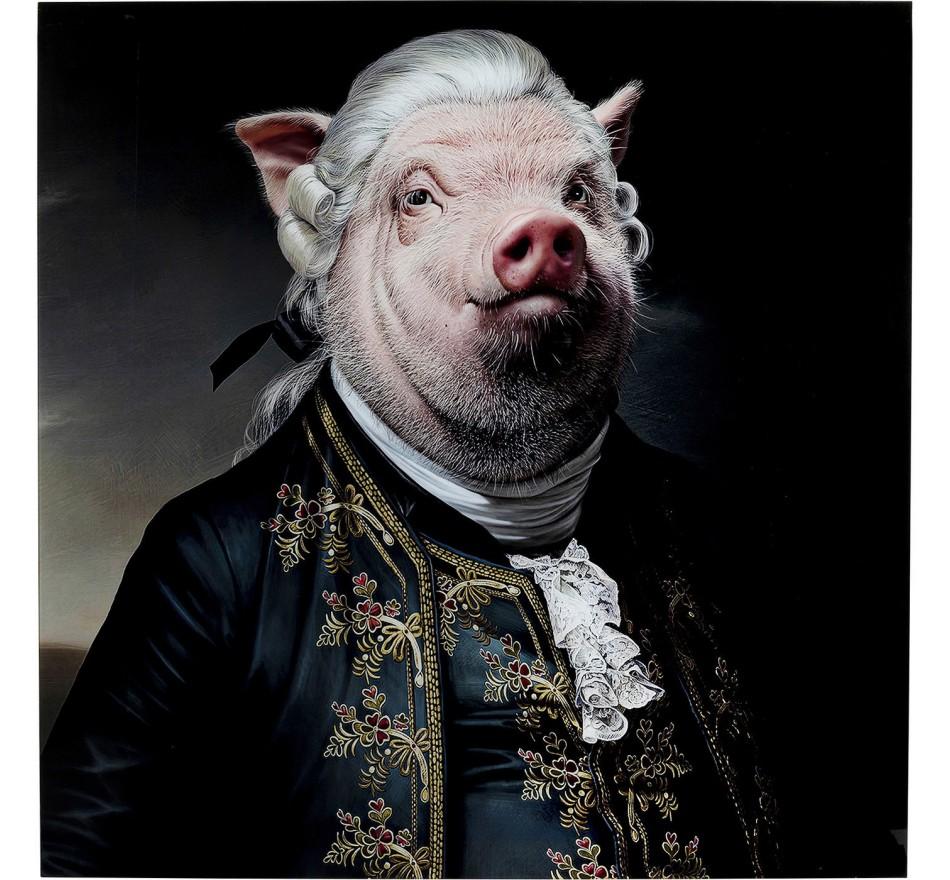 Tableau en verre cochon gentleman 120x120cm Kare Design