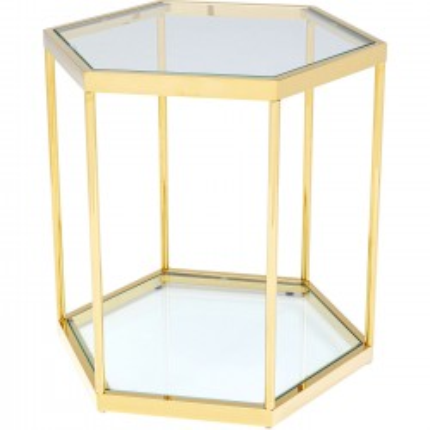 Table d'appoint Comb dorée 55cm Kare Design