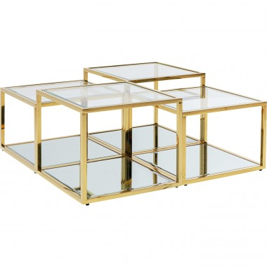 Tables basses Orion set de 4 dorées Kare Design