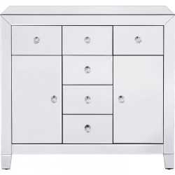 Commode Luxury argent 2 portes 6 tiroirs Kare Design