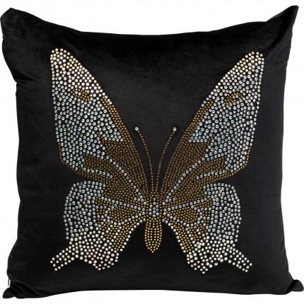 Coussin noir papillon strass Kare Design