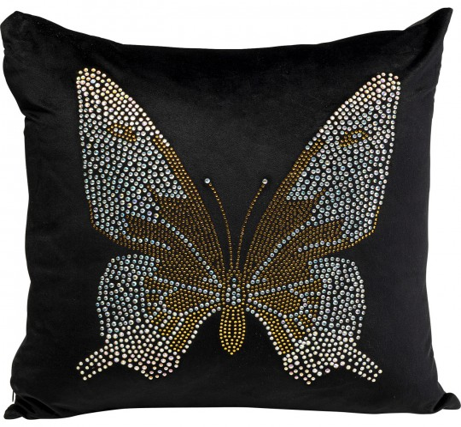 Coussin noir papillon strass 45x45cm Kare Design