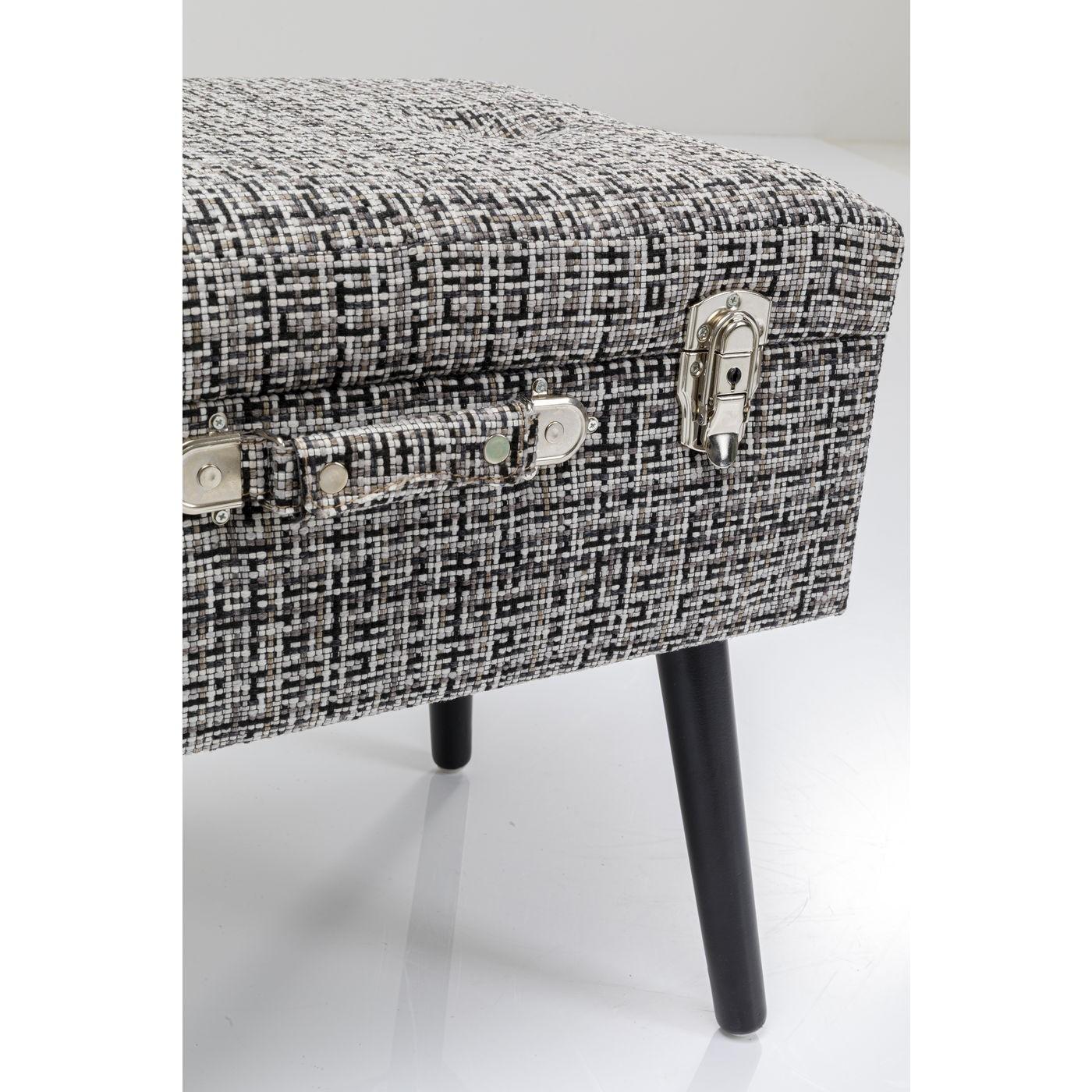 Tabouret Suitcase Iceland noir et blanc Kare Design