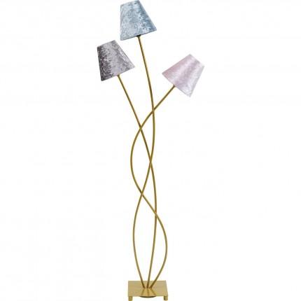 Lampadaire Flexible 3 bras 130cm velours et doré Kare Design