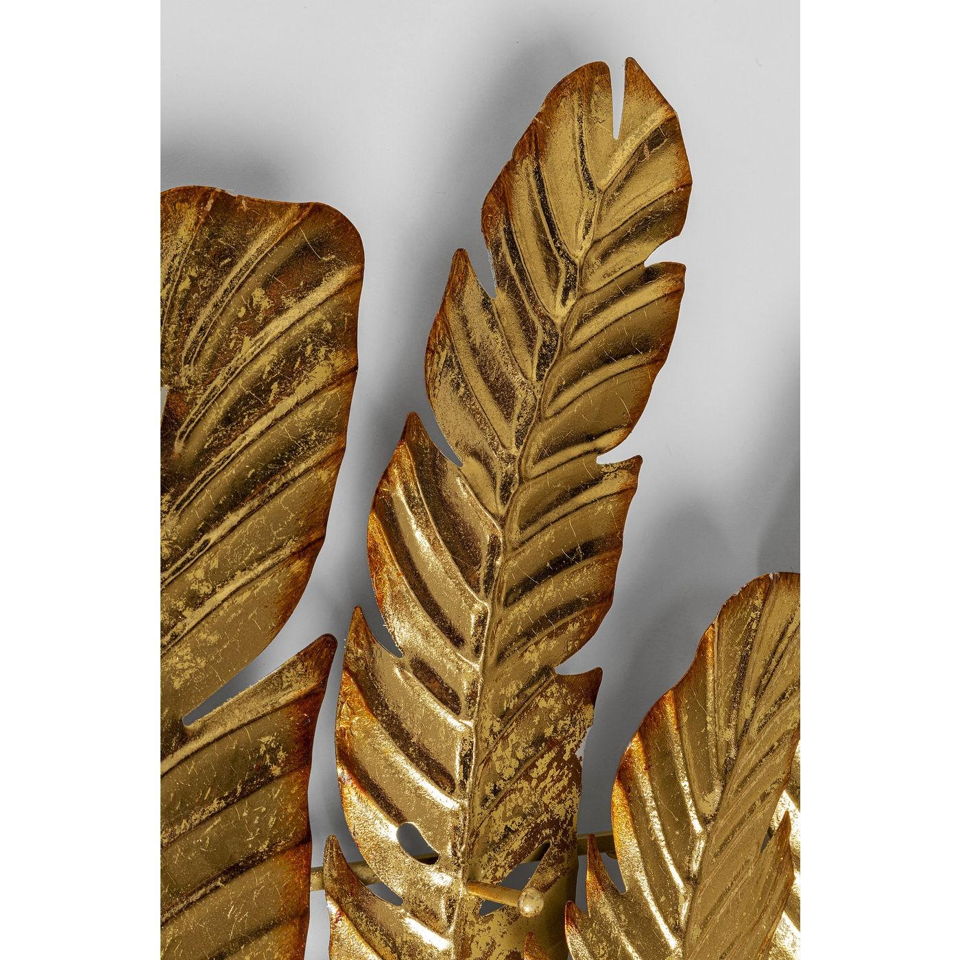 Portemanteau mural feuilles dorées 86cm Kare Design