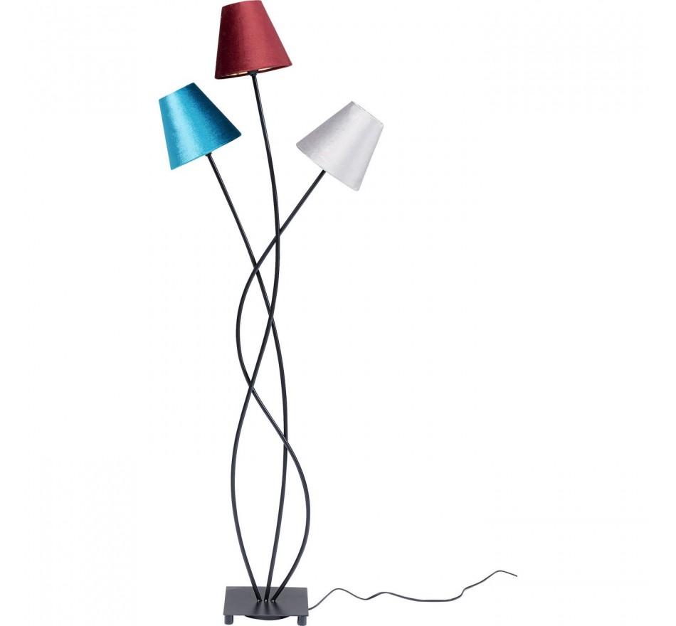 Lampadaire Flexible 3 bras 130cm velours et noir Kare Design