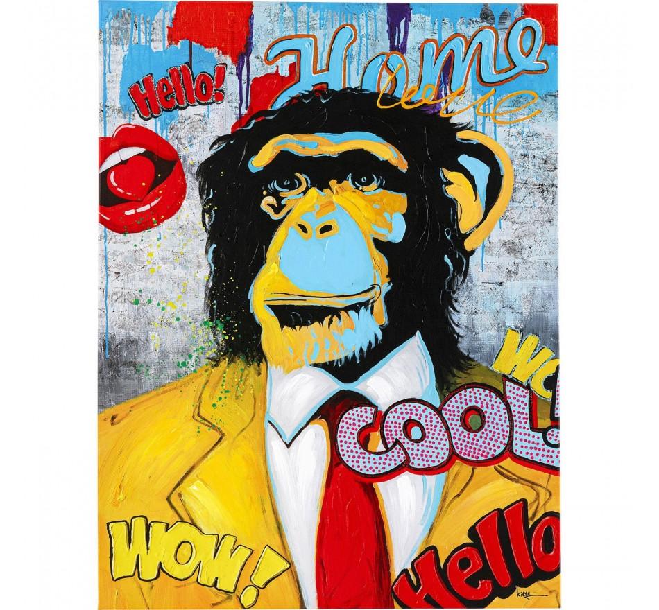 Tableau Pop Art singe 120x90cm Kare Design