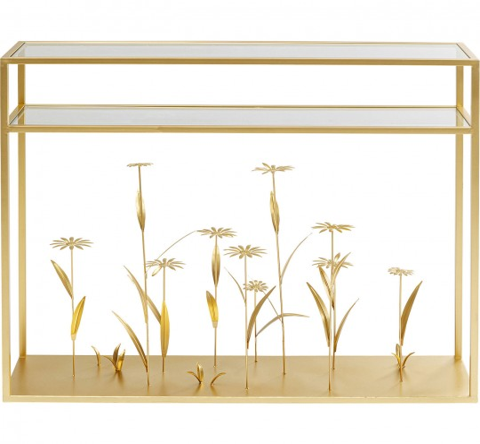 Console Flower Meadow dorée 100cm Kare Design