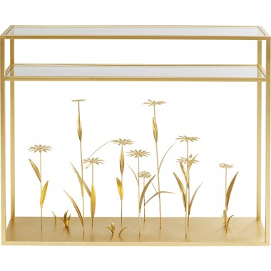 Console Flower Meadow dorée 100cm Kare Design