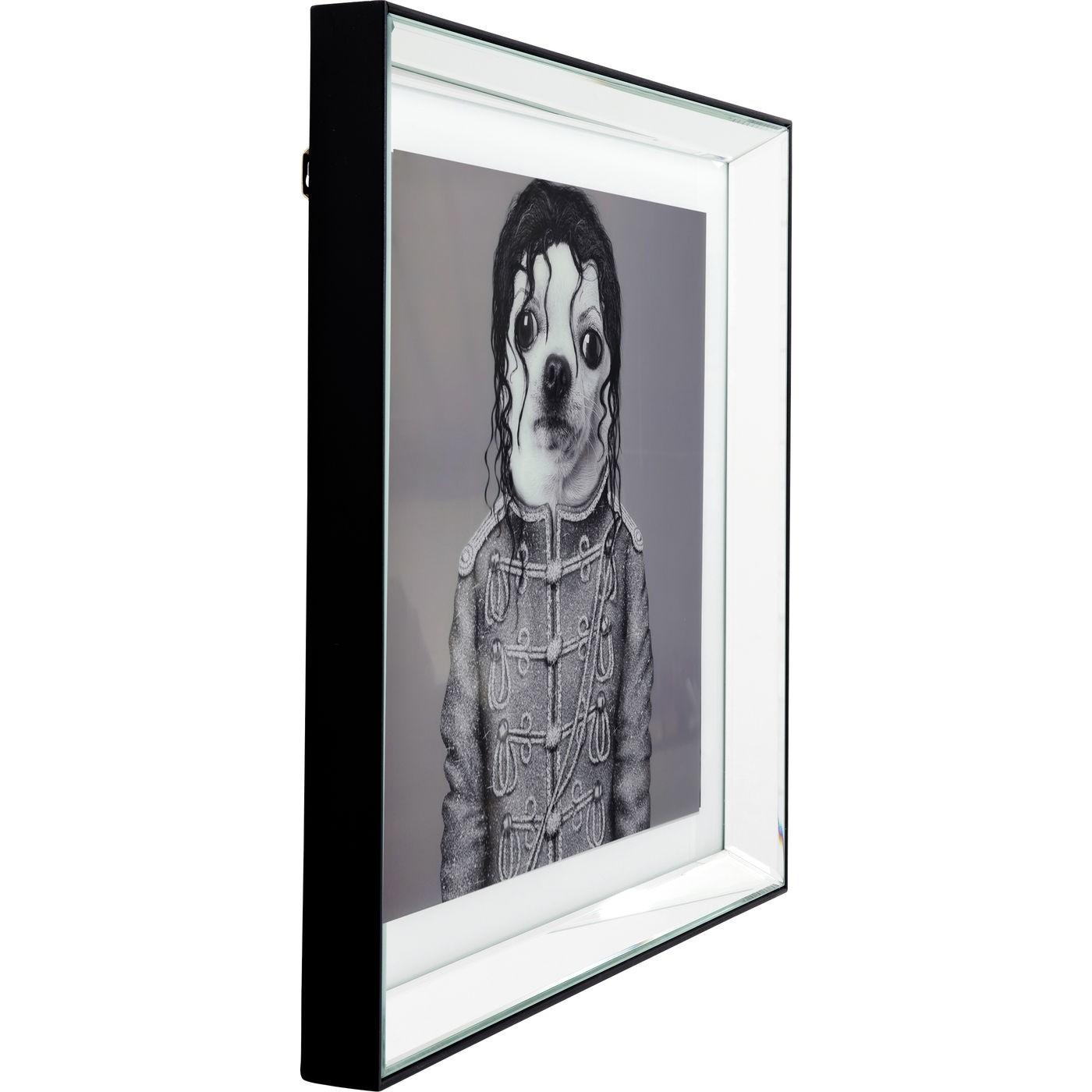 Tableau Frame miroir chien chanteur 60x60cm Kare Design