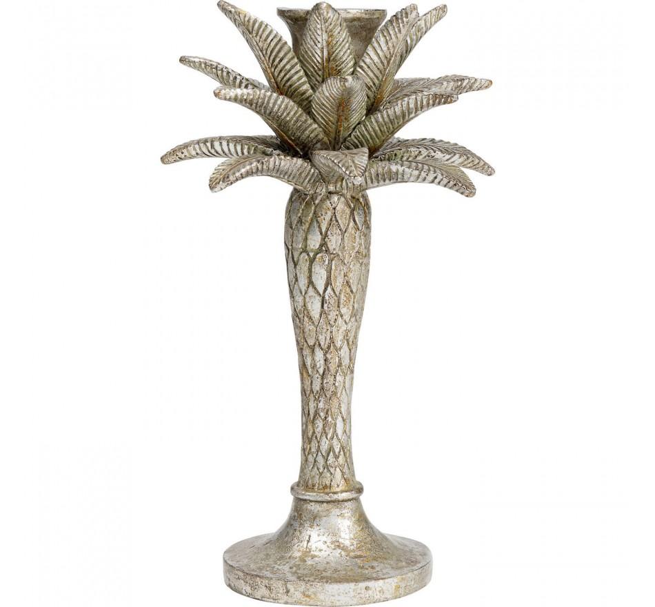 Bougeoir palmier argenté 25cm Kare Design