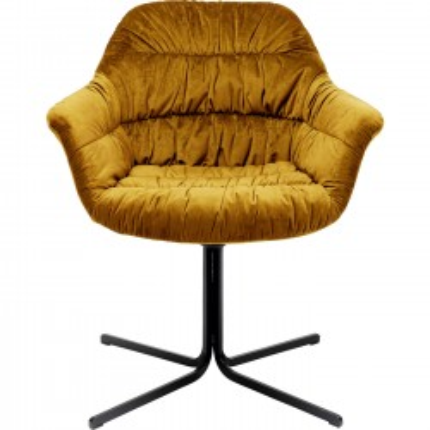 Chaise pivotante Colmar velours jaune Kare Design