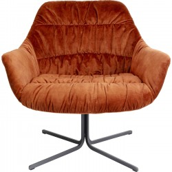 Fauteuil pivotant Bristol velours orange Kare Design