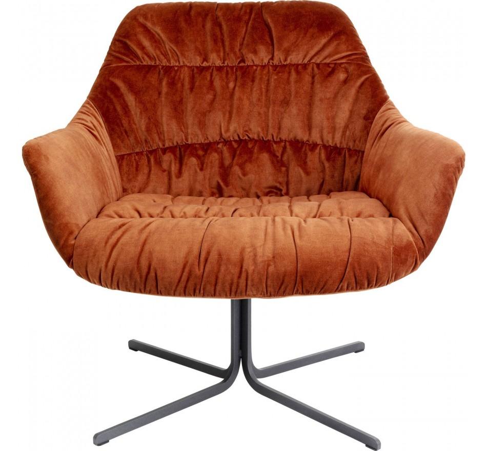 Fauteuil pivotant Bristol velours orange Kare Design