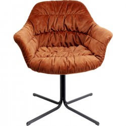 Chaise pivotante Colmar velours orange Kare Design