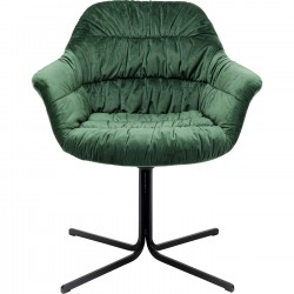Chaise pivotante Colmar velours vert Kare Design