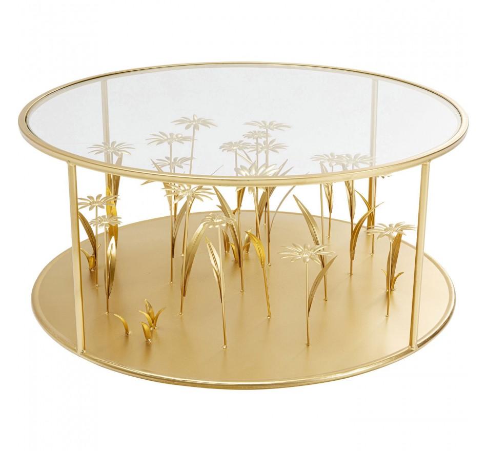 Table basse fleurs 3D dorées 80cm Kare Design