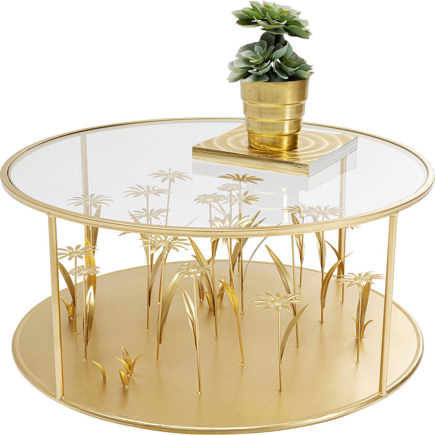 Table basse fleurs 3D 80cm dorées Kare Design