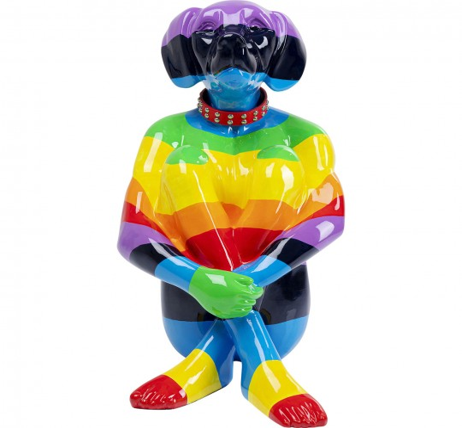 Déco chien rayures multicolores XL 80cm Kare Design