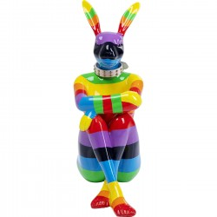 Déco lapin rayures multicolores XL 80cm Kare Design