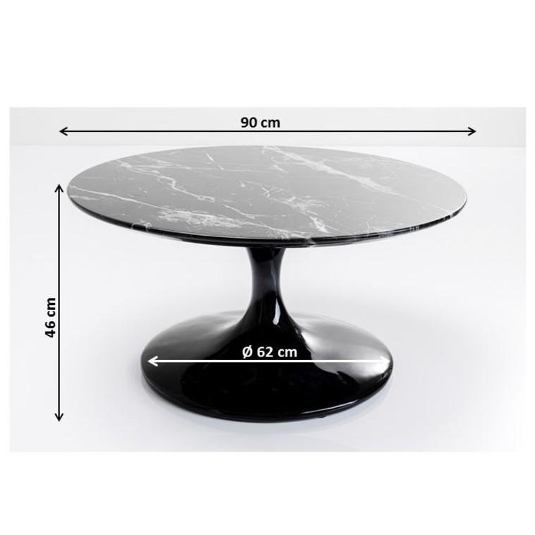 Table basse Solo effet marbre 90cm noir Kare Design