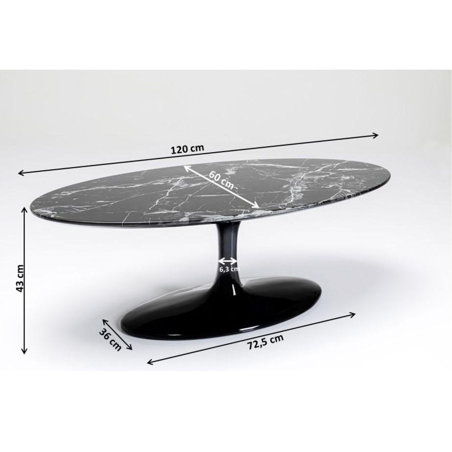 Table basse ovale Solo effet marbre 120x60cm noir Kare Design
