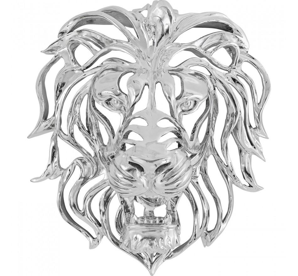 Déco murale tête lion argentée Kare Design