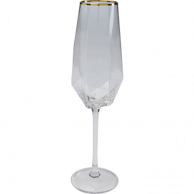 Flûtes à champagne Diamond Gold Rim set de 6 Kare Design