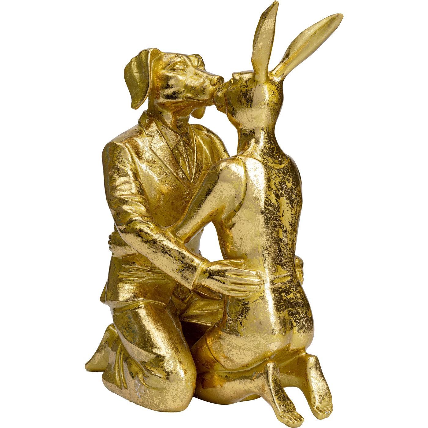 Déco couple lapin et chien dorés Kare Design