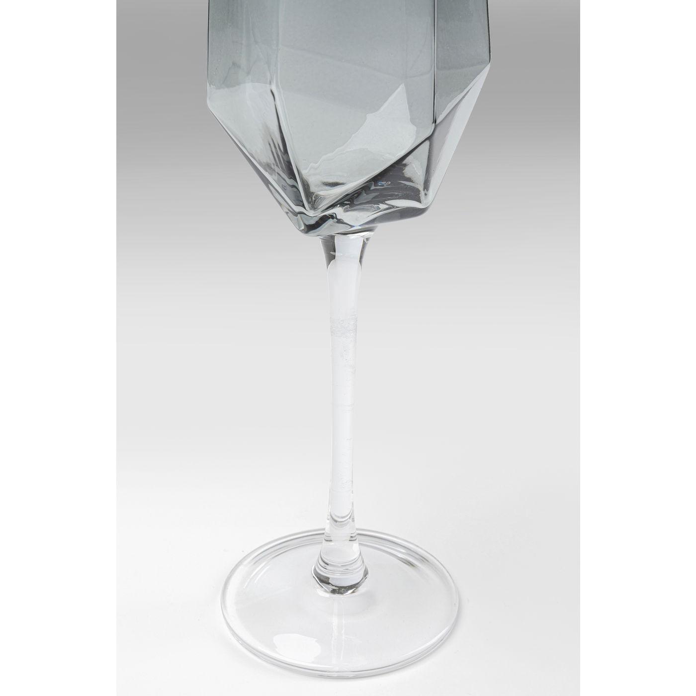 Flûtes à champagne Diamond fumé set de 6 Kare Design