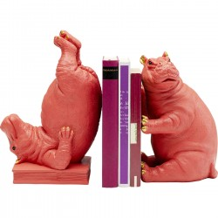 Serre-livres Hippopotames roses set de 2 Kare Design