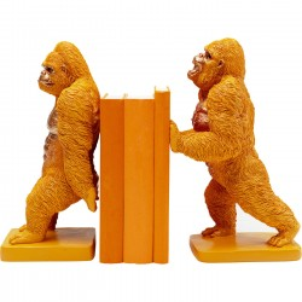 Serre-livres gorilles oranges set de 2 Kare Design
