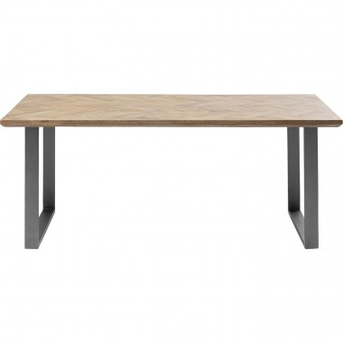 Table Parquet acier brut 180x90cm Kare Design
