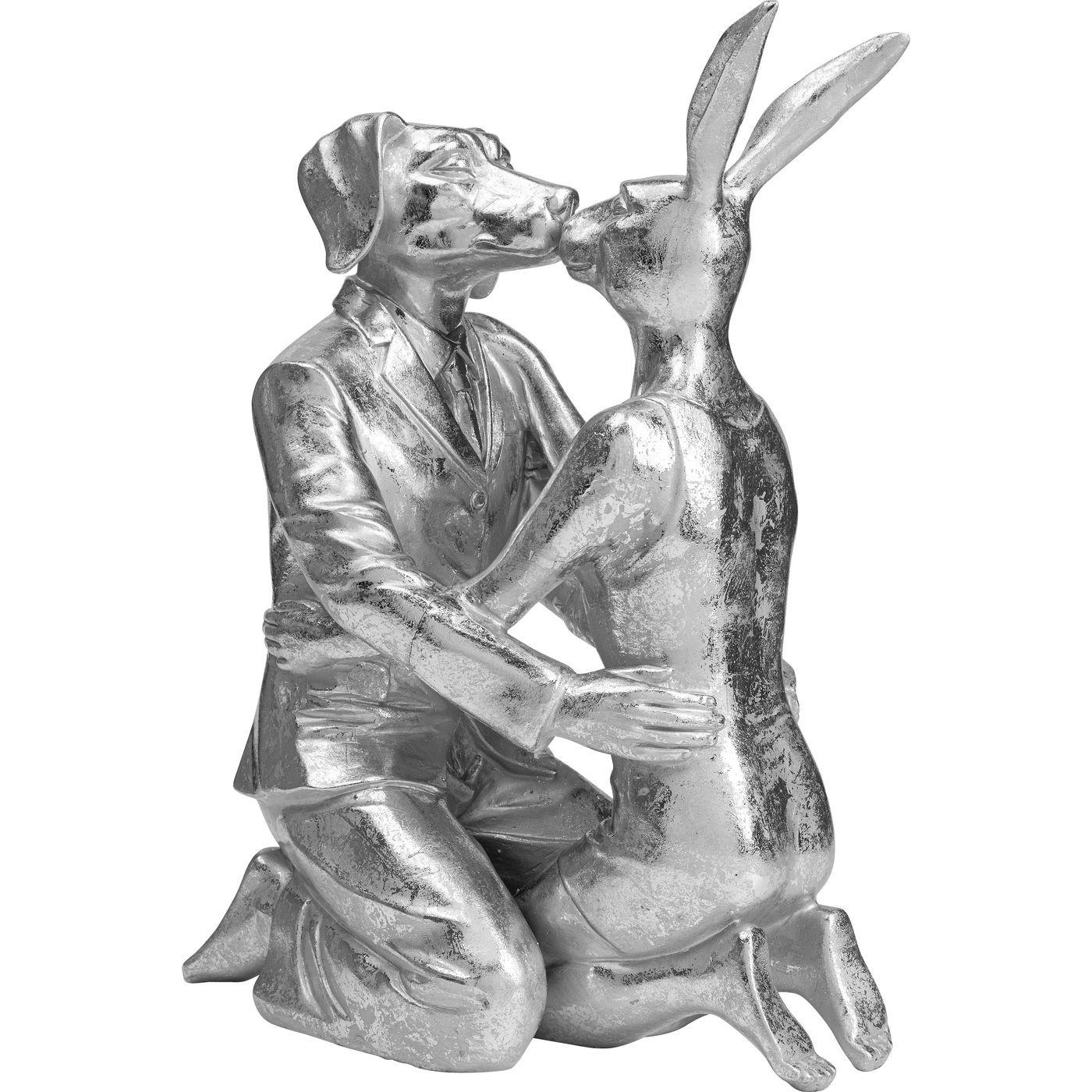 Déco couple lapin et chien argentés Kare Design