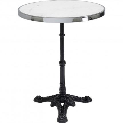Table Bistrot ronde 57cm marbre blanc et argent Kare Design