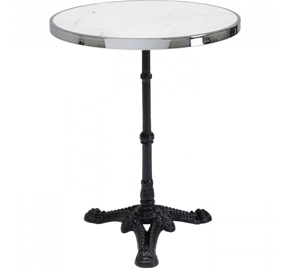 Table Bistrot marbre blanc et argent ronde 57cm Kare Design