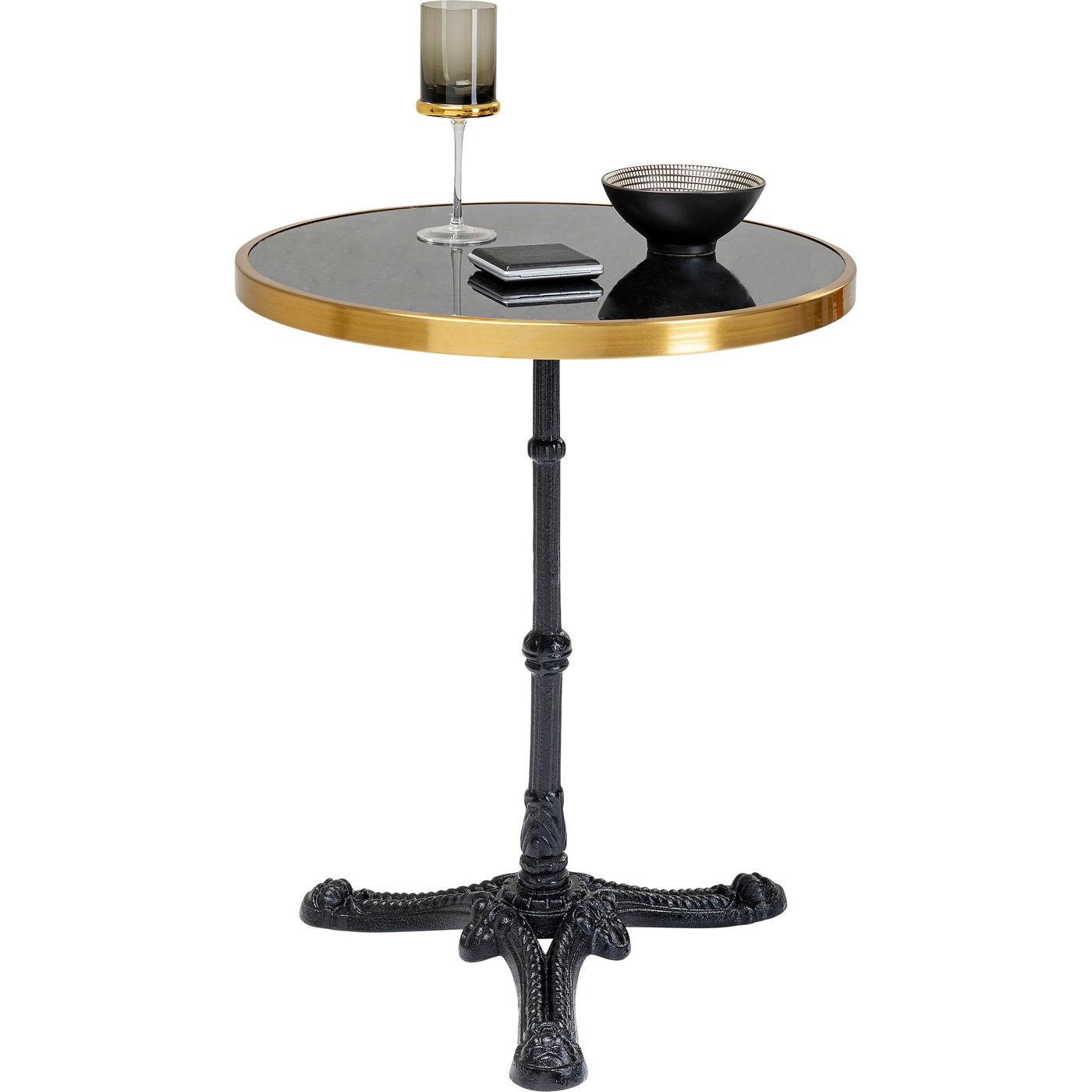 Table Bistrot ronde 57cm marbre noir et or Kare Design